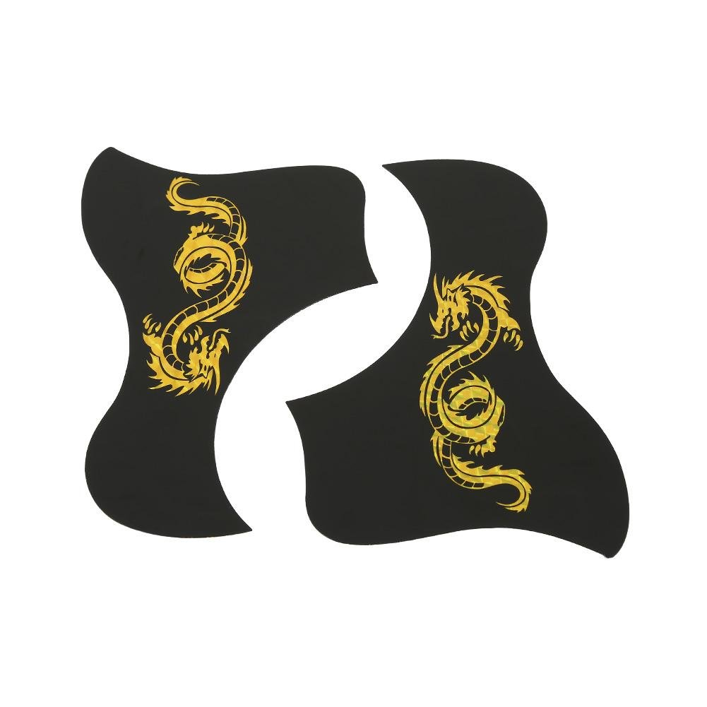 Guitar Pickguards, 2Pcs 40/41 inch Guitar Pick Guards Bird Shape Sticker for Acoustic Guitar(Gold Dragon) Dilwe