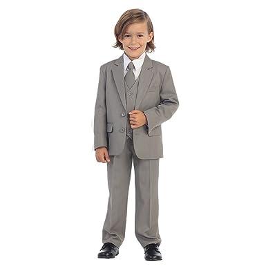 781f7c62fc929 Little Boys Light Gray Jewels & Gents Jacket Vest Shirt Tie Pants 5 Pc Suit  3T