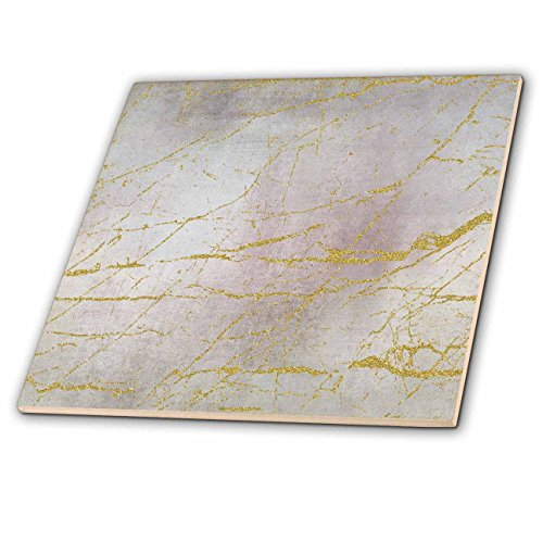 3dRose Andrea Haase Glamour and Glitter - Image of Glamorous Elegant Soft Pastel Texture With Golden Marble Lines - 4 Inch Ceramic Tile ()