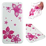 Glitter Case for Huawei P9 Lite Mini,Clear Silicone Case for Huawei P9 Lite Mini,Leecase Pretty Elegant Crystal Clear Shiny Glitter Sparkle Colorful Red Flower Design Slim Fit Ultrathin Soft Gel Transparent Flexible Bling Rubber Bumper Shell Skin Cover Case for Huawei P9 Lite Mini + 1 x Free Black Stylus-Red Flower