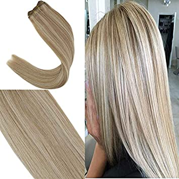 100% authentic official images reasonably priced Youngsee 24inch Highlight Hair Weave Human Bundles Ash Brown with Blonde  Remy Straight Sew in...