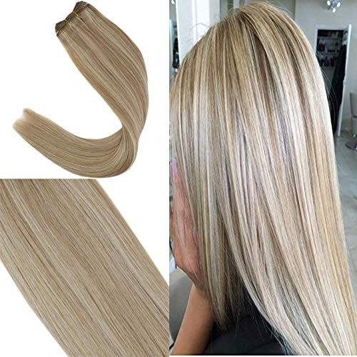 Youngsee 18inch Highlight Hair Weave Human Bundles Ash Brown with Blonde Remy Straight Sew in Human Hair Extensions 100g/Bundle