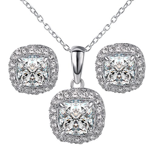 yoursfs 18K White Gold Plated Necklace and Earring Set Silver - 3