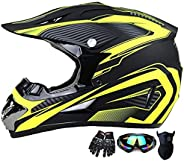 Motocross Helmet Trend Skull ATV Motorcycle Helmet SUV Mask Goggles Gloves,Dirt Bike Downhill Off-Road Mountai