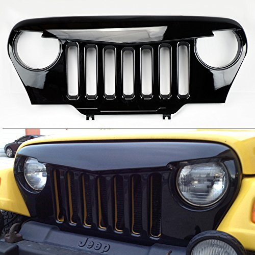 Jeep Wrangler TJ 97-06 Angry Bird Style Mesh Gloss Black Front Hood Bumper Grill