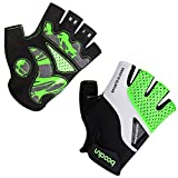 BOODUN Cycling Gloves for Men Women Half Finger Bicycle Gloves Breathable Anti-slip Gloves Green L