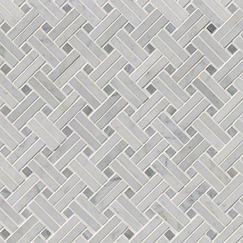 Basketweave Pattern Tile (MS International SMOT-CAR-BW2P Carrara White Basketweave Pattern Polished Mosaic Tiles)