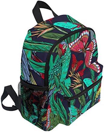 熱帯雨林の蝶のオウム幼児バックパックブックバッグミニショルダーバッグ1-6年旅行男の子女の子子供用チェストストラップホイッスル