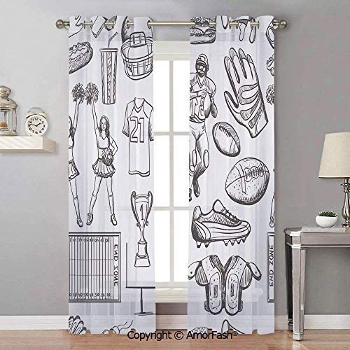 AmorFash Football Sheer Curtain Panels Bedroom - Home Decoration Voile Panels with Ring Top,42x96 Inch Pattern with Helmet Cup Ball Cheerleader Player Sneakers Sports Equipment Sketch