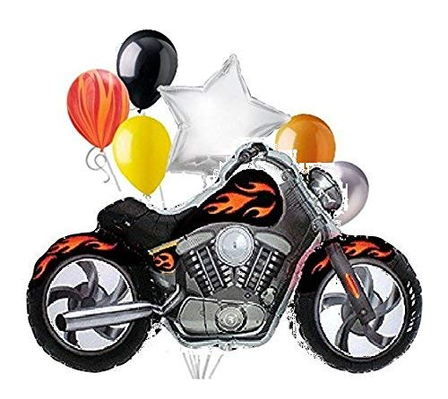 7pc Pieces BLACK Motorcycle with Orange-Yellow Flames Mylar and Latex Balloon Bouquet -