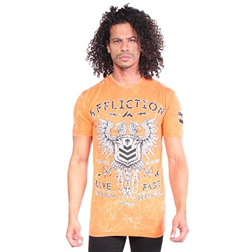 Affliction Value Freedom Shirt - Orange Crush White Lava Tint - Large (Affliction Short Sleeve T-shirt)