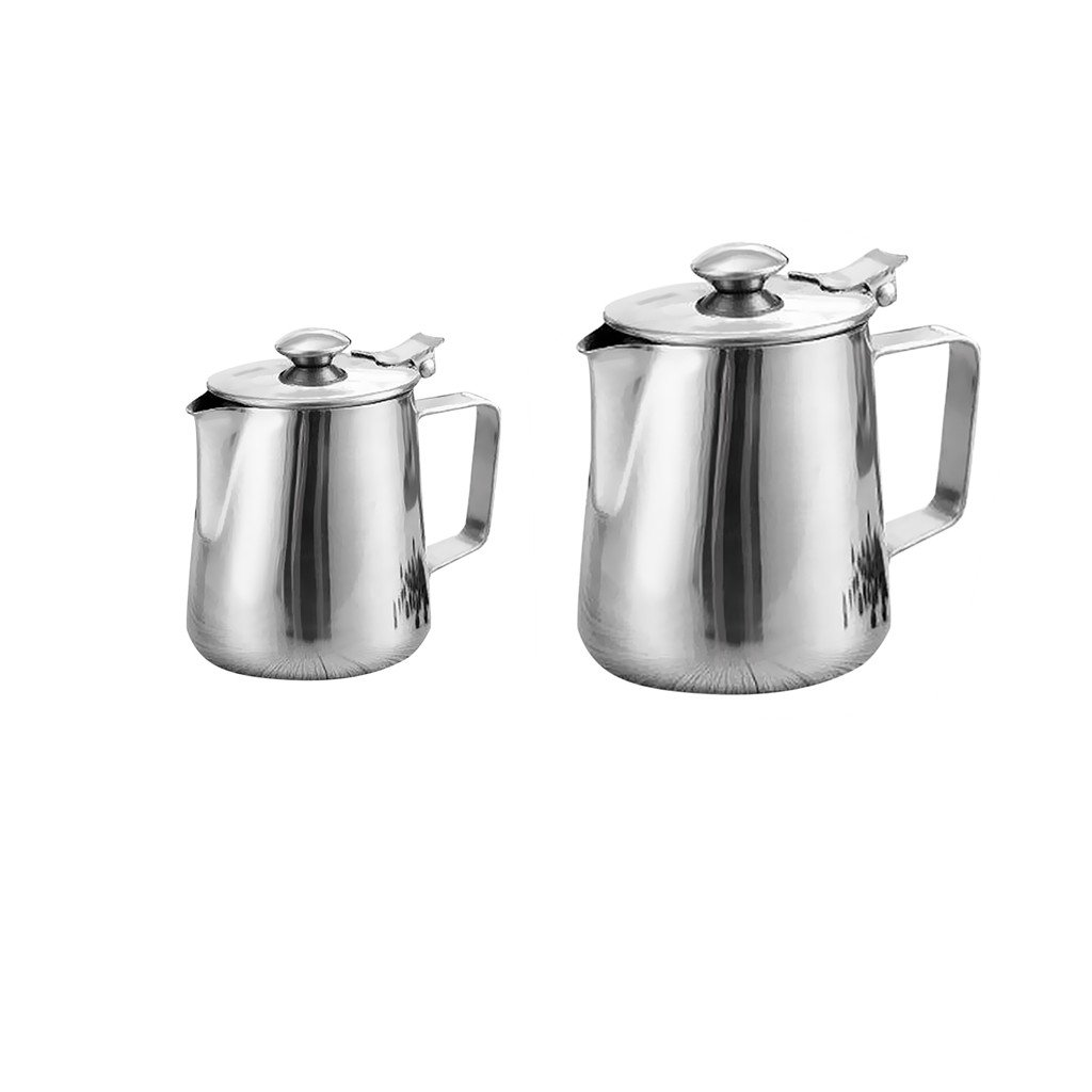 Dovewill Stainless Coffee Pitcher Craft Latte Milk Frothing Jug with Lid Various Size