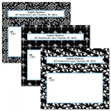 Black Elegance Personalized Return Address Labels- Set of 36 (3 Designs) Self-Adhesive, Flat-Sheet Package Labels, By Colorful Images