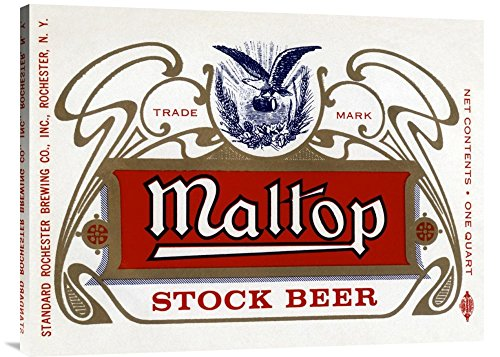 Maltop Stock Beer - Global Gallery Budget GCS-375113-36-142 Vintage Booze Labels Maltop Stock Beer Gallery Wrap Giclee on Canvas Wall Art Print