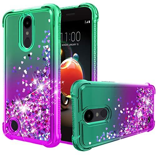 (LG Aristo 3 Case,Tribute Empire/Aristo 2/Aristo 2+ Plus/Aristo 3+ Plus/Tribute Dynasty/K8+/Fortune 2/Zone 4/Rebel 4/Phoenix 4/k8 2018 Case,Flowing Liquid Bling Glitter TPU Shockproof Case.Mint/Purple)