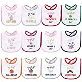 Hudson Baby Unisex Baby Cotton Terry Drooler Bibs with Fiber Filling, Girl Holiday, One Size