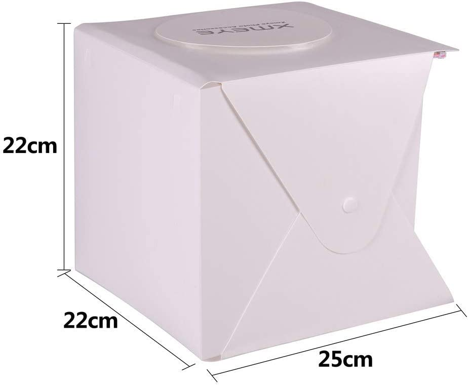 Foldable Photography Booth With 2 x 20 LED Beads 6 Colors Backdrops Mini Photo Studio Box 9 x 9 Inches Shooting Tent Kit