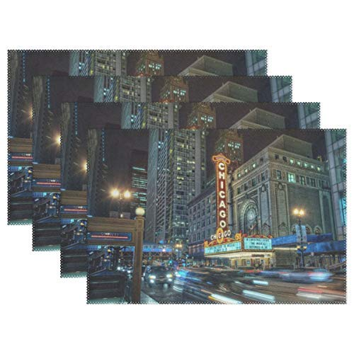 Plate Pad Chicago City Night Lights Buildings Underground Heat-Resistant Table Placemats Stain Resistant Table Mats Washable Eat Mat Home Dinner Set of 4 ()