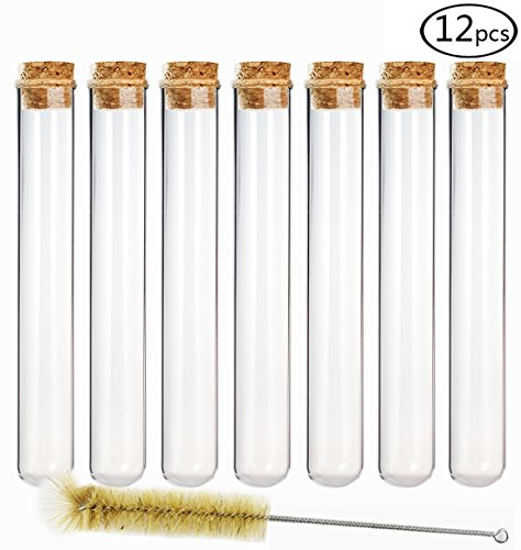 DEPEPE 25×200mm Glass Test Tubes with Cork Stoppers and 1 Brush, 80ml, Pack of 12