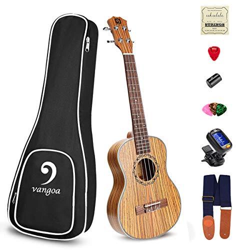 Ukulele Soprano Zebra Wood Acoustic 21in Hawaii Vintage Ukulele for Beginners Bundle Ukelele starter kit, by Vangoa