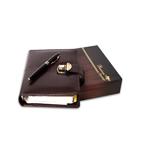 COI Brown Leatherette Executive Organizer Diary / Planner With Pen 2018 New Year Gift Set: Amazon.in: Office Products