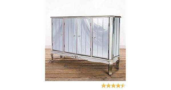 Bella Casa Maria - Aparador de 4 Puertas con Espejo, Estilo francés, Estilo Shabby Chic, Mueble de Espejo, Color Plateado Envejecido: Amazon.es: Hogar