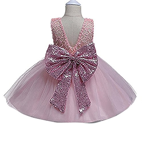 Sleeveless Girl Dresses for Toddler Kids Girls Pink and Gold Bow Summer Pageant Party Wedding Dress with Sequins 2 Years Playwear Toddlers Child Clothes Blush Knee Tea Length Size 3T (Pink, 90) (Pink Dresses For Kids)