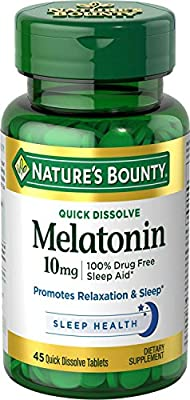 Natures Bounty Melatonin 10 mg Quick Dissolve Tablets, 45 Count