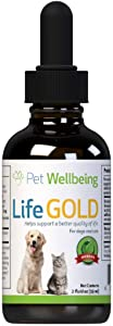 Pet Wellbeing - Life Gold For Dogs - Immune system support and antioxidant protection for canines with cancer 2 oz (59ml)