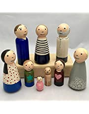 50pcs Peg Dolls Decorative Wooden Peg Doll Assorted Sizes Unfinishied Peg People Doll Bodies Wooden Figures for Painting Craft Art Projects Peg Game