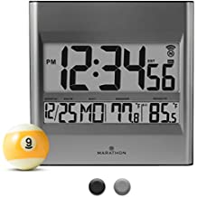 Marathon CL030027 Atomic Wall Clock with 8 Timezones, Indoor/Outdoor Temperature & Date in Silver - Batteries Included