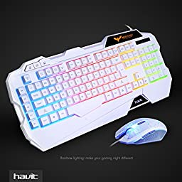 HAVIT Rainbow Backlit Wired Gaming Keyboard and Mouse Combo (White) [ Updated Version ]