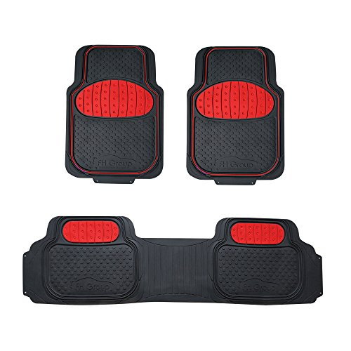 (FH Group F11500 Touchdown Floor mats Full Set Rubber Floor Mats, Red/Black Color- Fit Most Car, Truck, SUV, or Van)