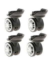Baoblaze 4 Pieces 360 Swivel Luggage Wear Resistant Wheel Suitcase Replacement Repair Wheels Dual Roller (YJ-002 Black)