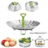 Steamer Basket Vegetable Basket Folding Steamer Expandable to Fit Various Size Pressure Cooker Veggie Fish Seafood Cooking and Stainless Steel Peeler