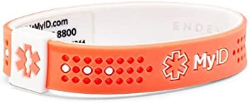 Lightweight Silicone Material Free Medical Profile To Store Medical Information myID Sport Medical ID Bracelet Red//Black XL Great for Those with Diabetes Etc Autism Fits Kids /& Adults