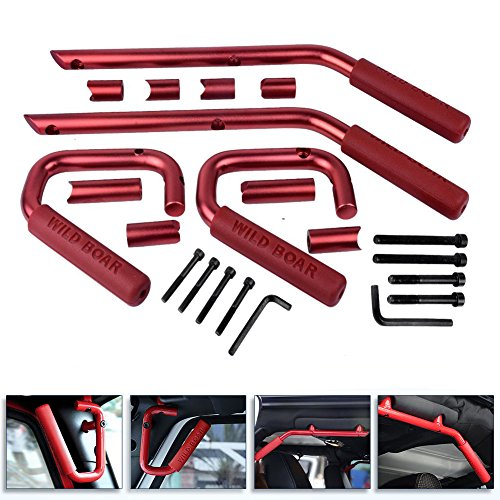 Front Rear Grab Handle Bar for 2007 - 2018 Jeep Wrangler 4Doors Grab Bar Pair(Red) (Black Red Handles)