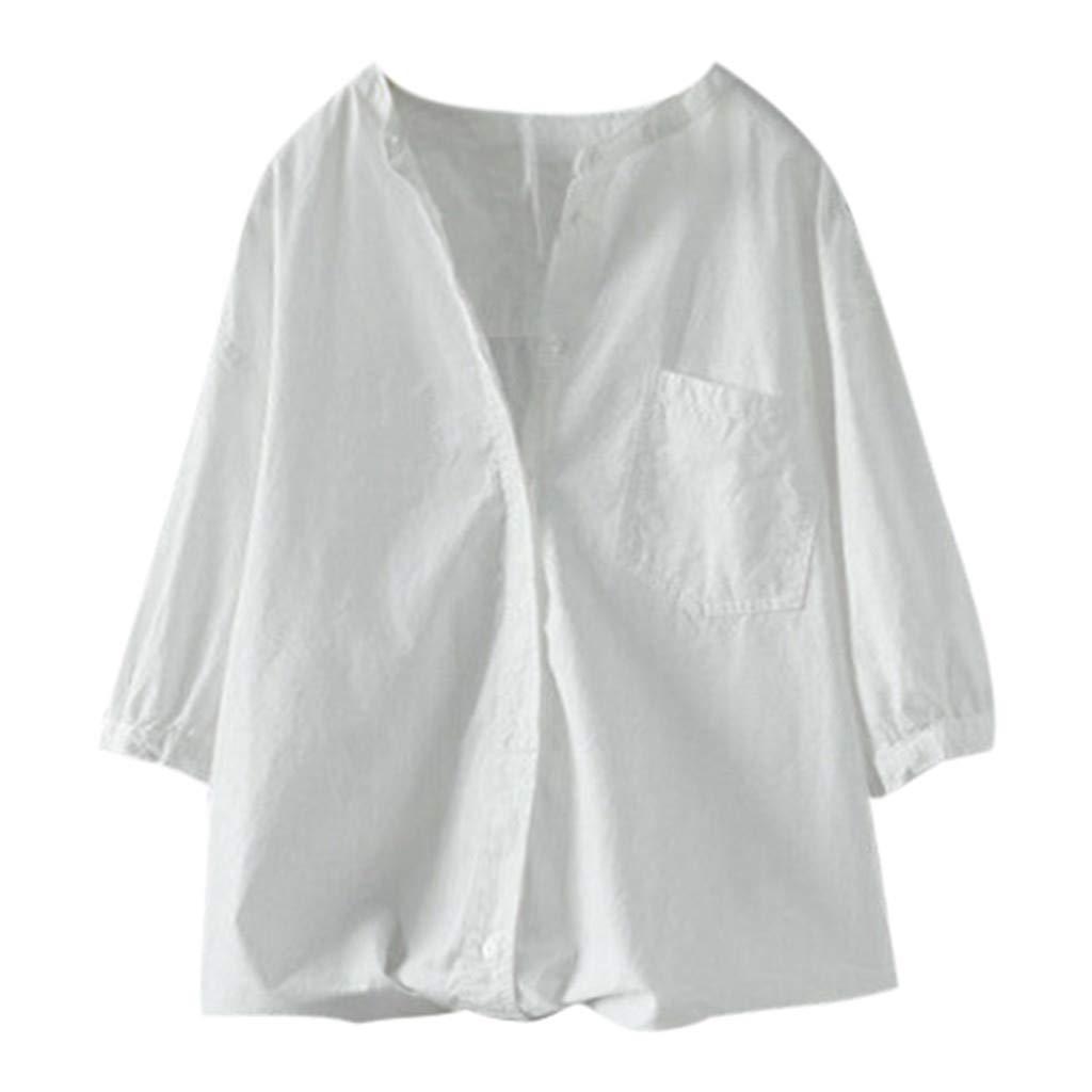 Alangbudu Women Summer Cotton and Linen Casual Deep V Neck T Shirt Top Lantern Long Sleeve Beach Cover up Plain Pocket White