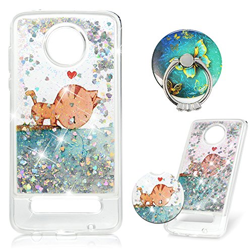 Moto Z2 Play Case, Moto Z2 Force Case, Fashion Creative Floating Luxury Bling Glitter Sparkle Cover TPU Bumper Shockproof Protective Skin for Motorola Moto Z2 Play/Moto Z2 Force, Cat Fish (Cat Sparkle)