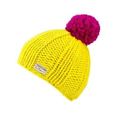 12b1119eaa0cda Kusan 100% Wool Yellow Bobble Beanie Hat PK1824: Amazon.co.uk: Clothing