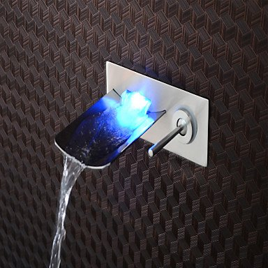 Brushed blue/green/red LED lamp-mounted waterfall bathroom basin mixer-black/silver/grey by FAUCET&YAMEIJIA