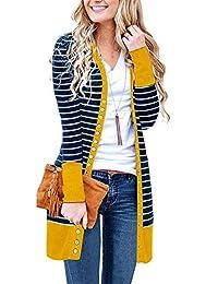 Chuhee Women's S-3XL Long Sleeve Knitwear Casual Snap Cardigans