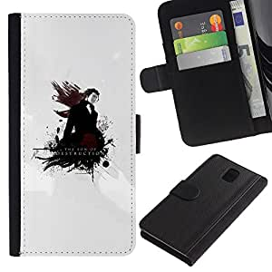 Planetar® Colorful Pattern Flip Wallet Leather Holster Protective Skin Case Cover For SAMSUNG Galaxy Note 3 III / N9000 / N9005 ( The Son Of Destruction )