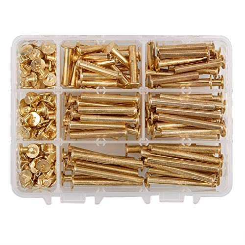 - INCREWAY 100 Set Binding Chicago Screw, 5mm X 25/30/35/40/45mm Brass Plated Binding Screw Binder Post, Brass Tone