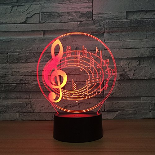Ephvan 3D Lamp Desk, 3D Music Visualization 7 Colors Change Optical Illusion Led Touch Sensor Lamp Atmosphere Bedside Lamp for Home Décor,Children Friend Gift