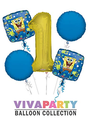 Spongebob Balloon Bouquet 5 pc, 1st Birthday, Gold Number 1 Jumbo Balloon | Viva Party Balloon -