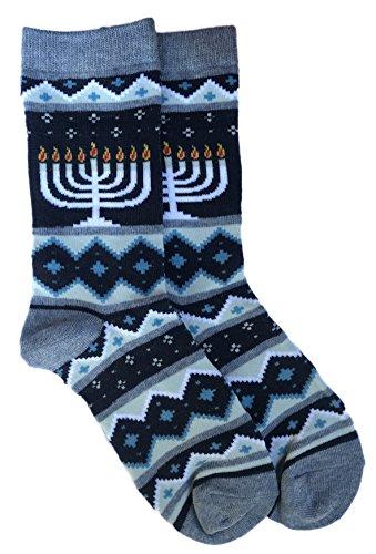 Happy Hanukkah Menorah Themed Jewish Holiday Novelty Crew Socks -  Davco