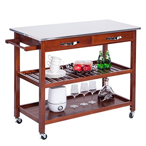 - Harper&Bright Designs Stora Concord Series Home Kitchen Island Storage Cart with Wheels (Stainless Top), White and Oak