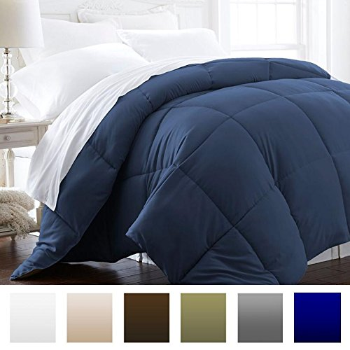 (Beckham Hotel Collection 1600 Series - Lightweight - Luxury Goose Down Alternative Comforter - Hotel Quality Comforter and Hypoallergenic - Full/Queen - Navy Blue )