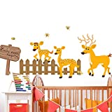 Little Deer Family Pattern Wall Stickers For Living Room Bedroom Decorations PVC Home